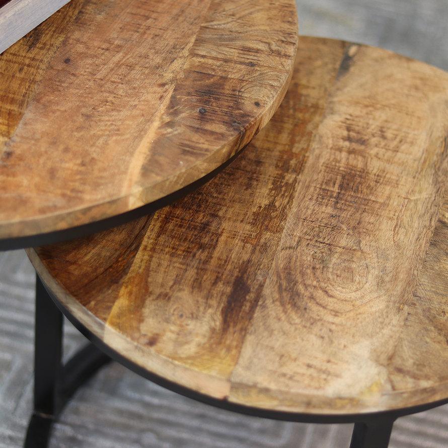 Horeca ronde salontafel Liz mangohout set van 2