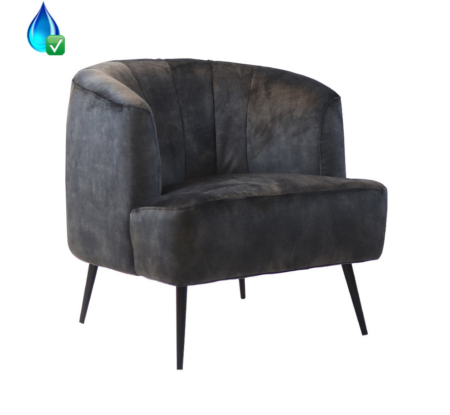 Fauteuil Billy antraciet velvet