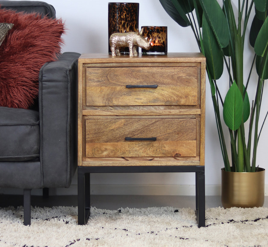 Nachtkastje Willis mangohout 47 x 35 x 65 cm