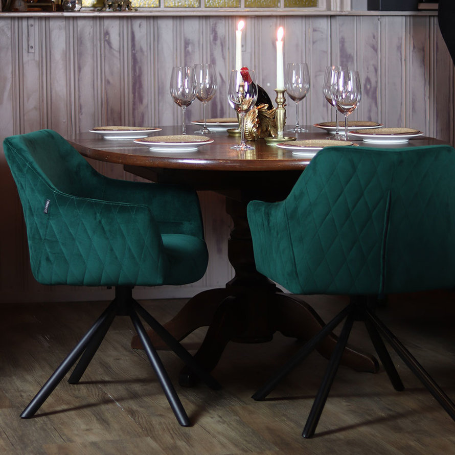 Horeca draaibare stoel Furtado donkergroen velvet