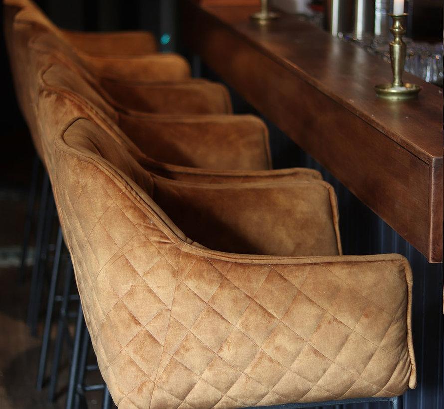 Horeca barkruk Jayron okergeel/cognac bruin velvet 82 cm