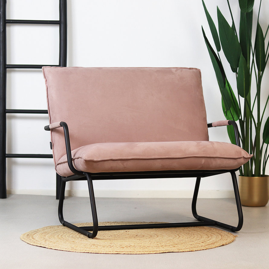 Fauteuil Ohio roze polyester