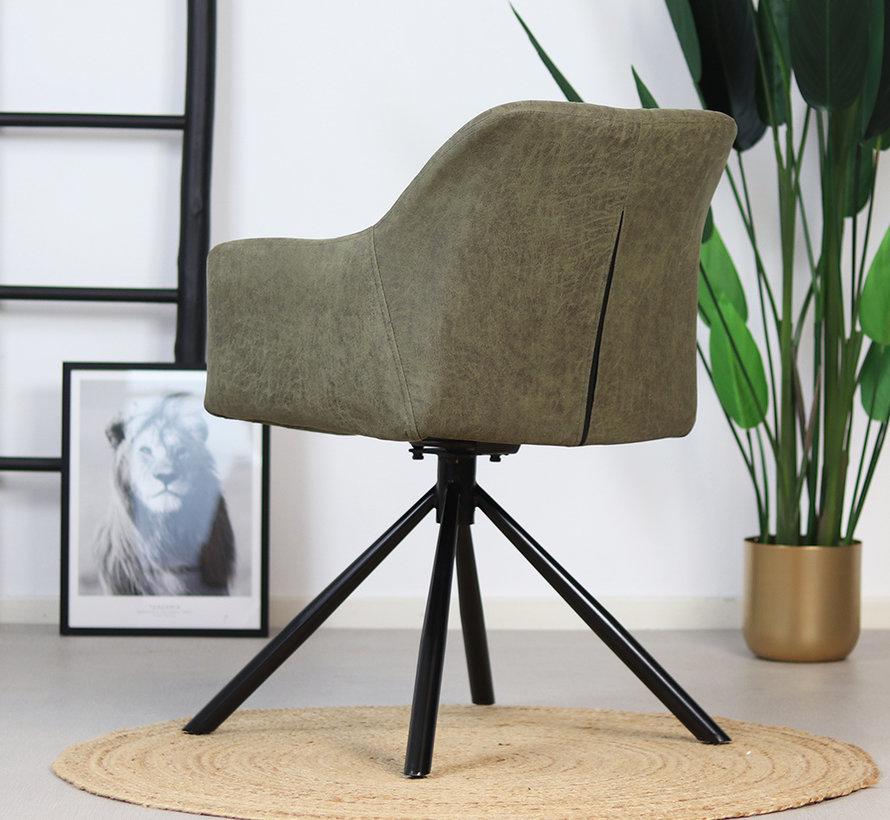Draaibare stoel Dex olijfgroen waterafstotend eco-leer