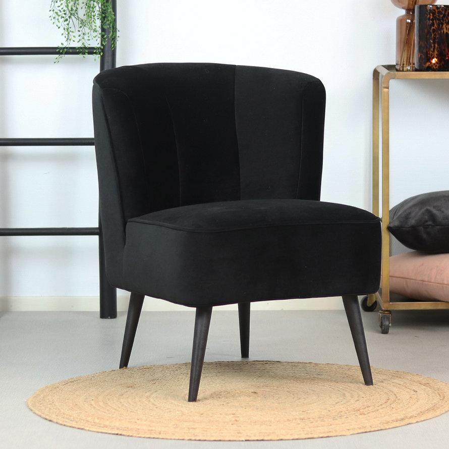 Fauteuil Lyla zwart velvet