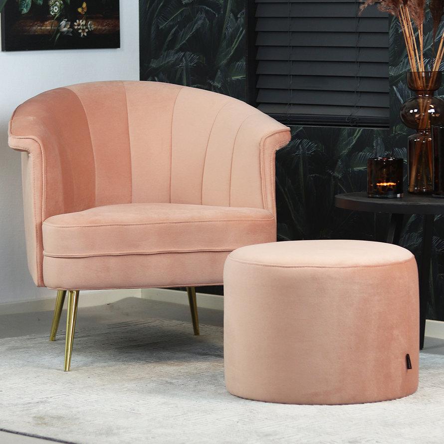 Poef/hocker Anna roze velvet