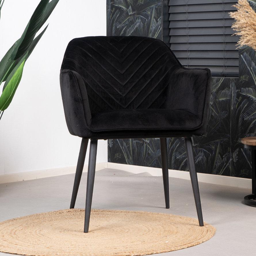 Horeca Stoel Fiona zwart velvet