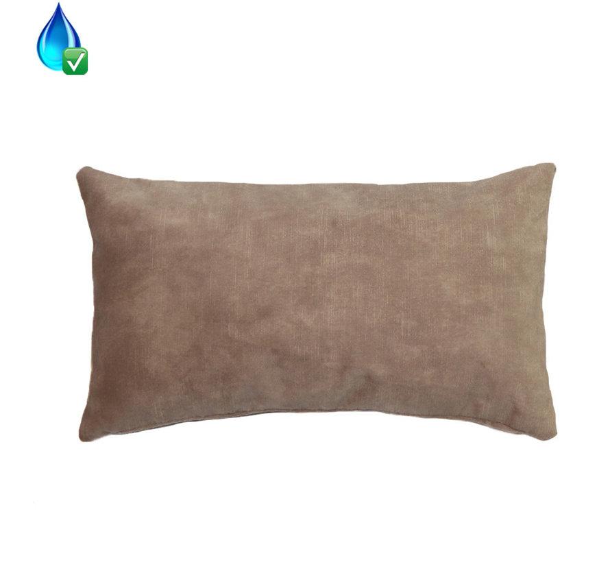 Kussen Beau taupe velvet 25 x 45 cm