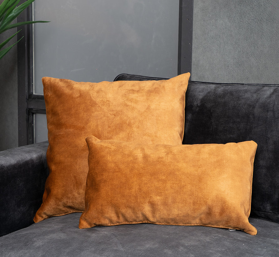 Kussen Beau okergeel velvet 25 x 45 cm