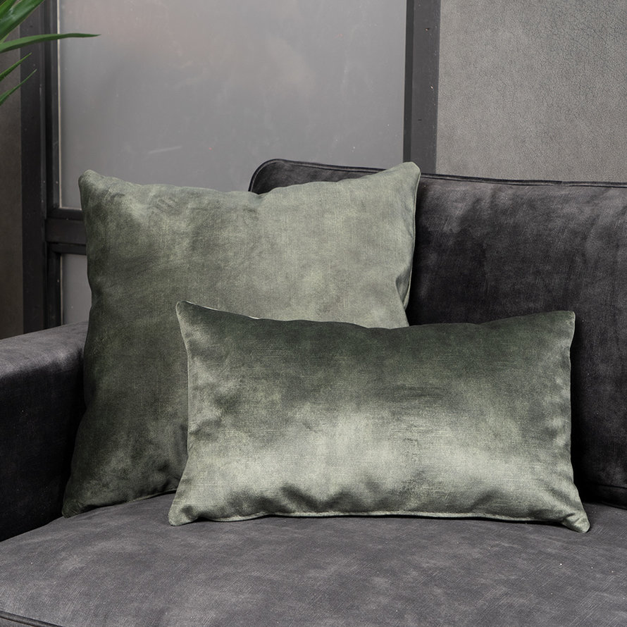 Kussen Beau donkergroen velvet 25 x 45 cm