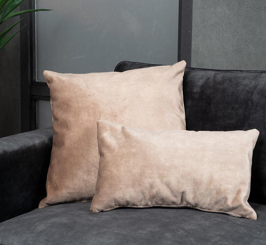 Kussen Beau taupe velvet 45 x 45 cm