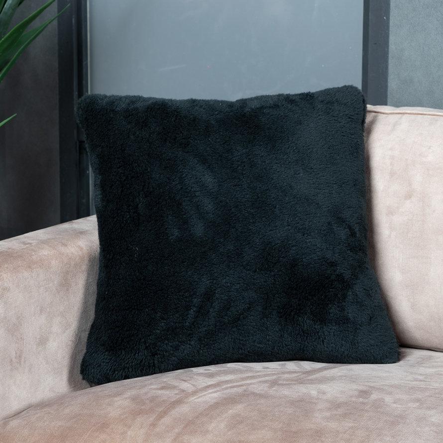 Kussen Tess zwart teddystof 45 x 45 cm