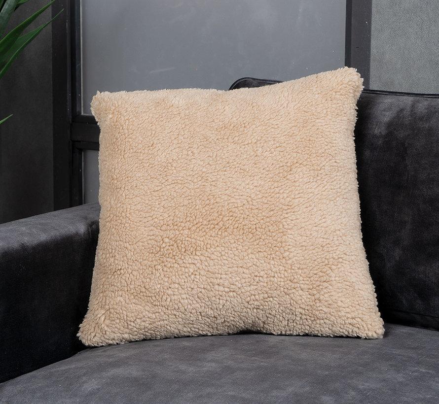 Kussen Tess taupe teddystof 45 x 45 cm