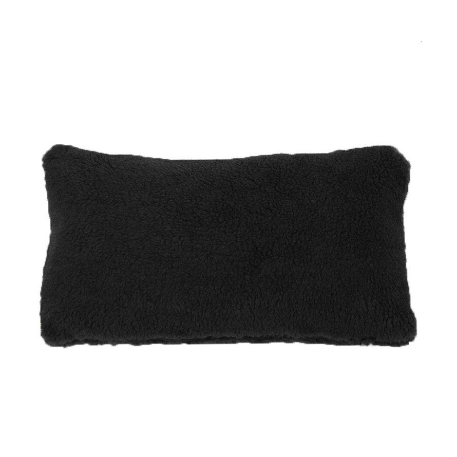 Kussen Tess zwart teddystof 25 x 45 cm