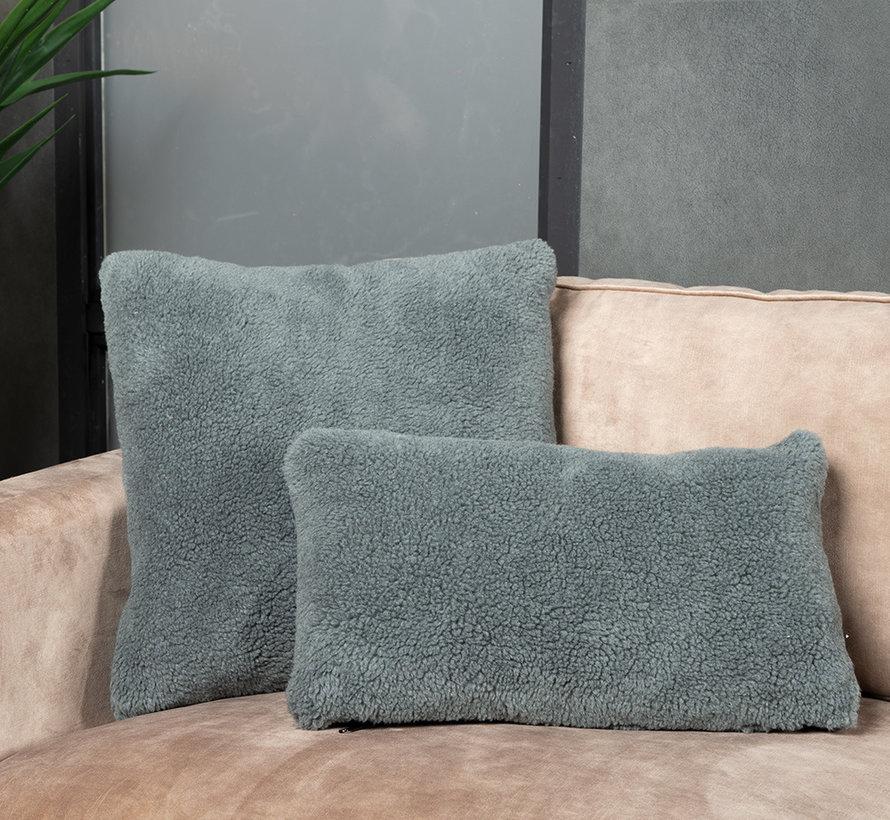 Kussen Tess grijs teddystof 25 x 45 cm