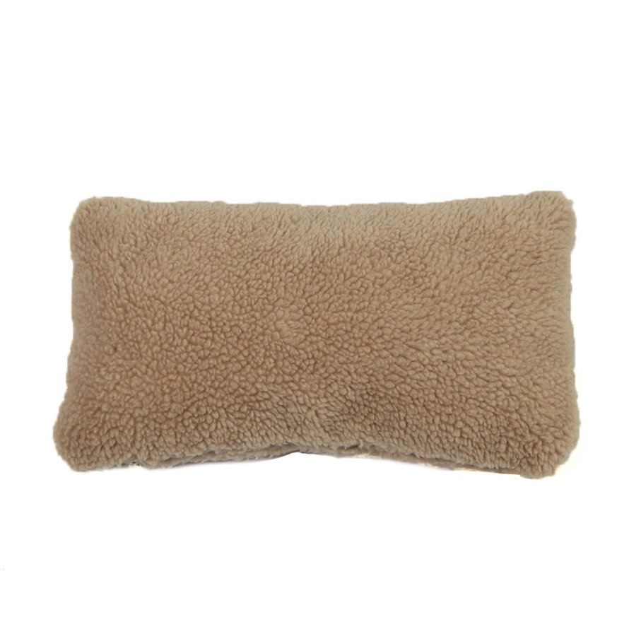 Kussen Tess taupe teddystof 25 x 45 cm