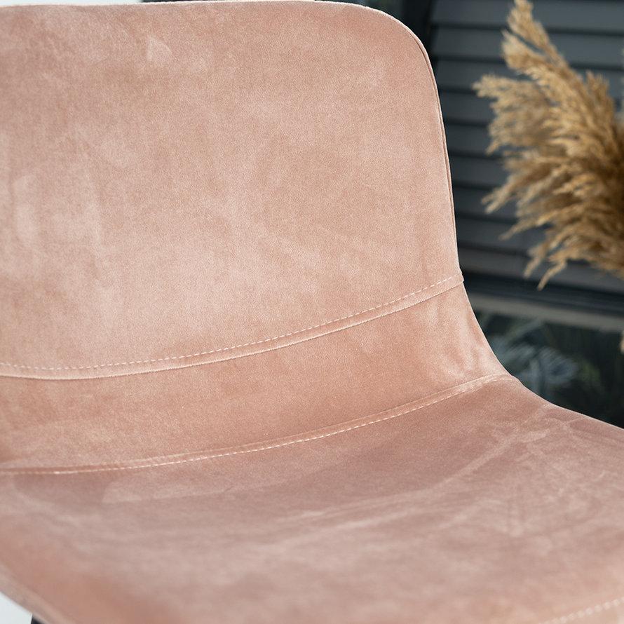 Horeca barkruk Mikky roze velvet 68 - 79 cm