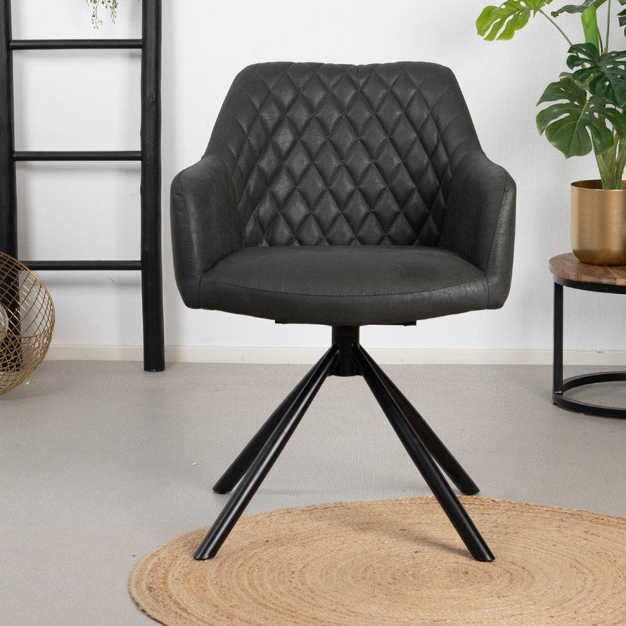 Draaibare stoel Dex zwart eco-leer