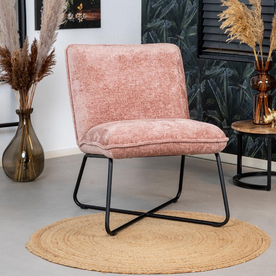 Fauteuil Sophie roze chenille stof