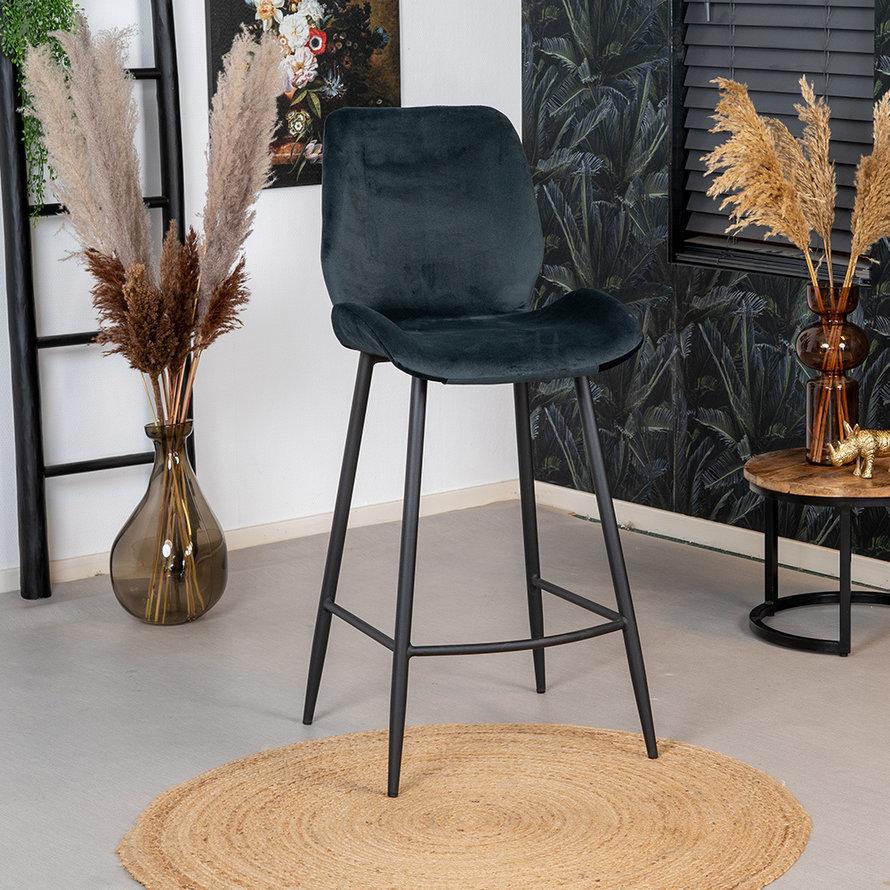 Horeca barkruk Miami antraciet velvet 71 cm