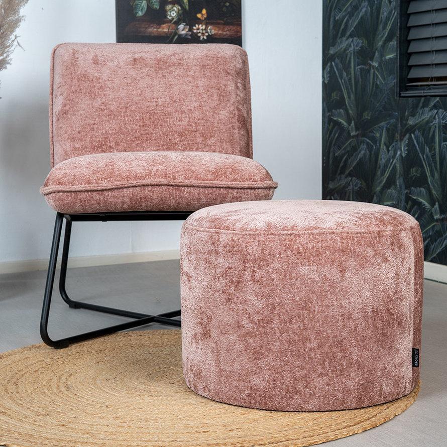 Poef/hocker Juna roze chenille stof