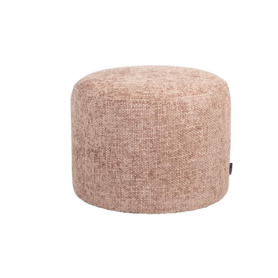 Poef/hocker Feline roze chenille stof