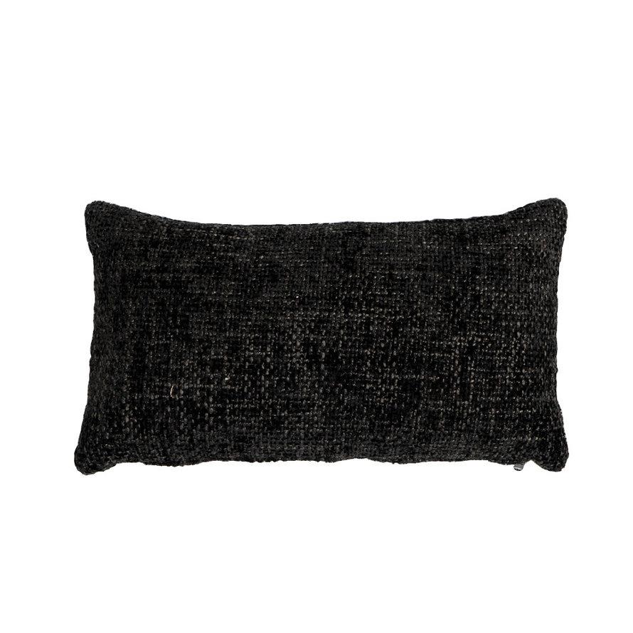 Kussen Feline zwart chenille stof 25 x 45 cm