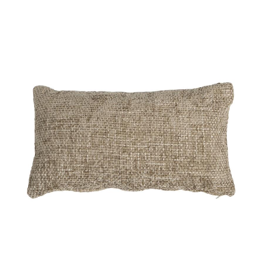Kussen Feline taupe chenille stof 25 x 45 cm