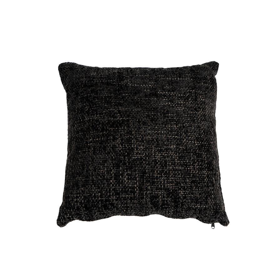 Kussen Feline zwart chenille stof 45 x 45 cm