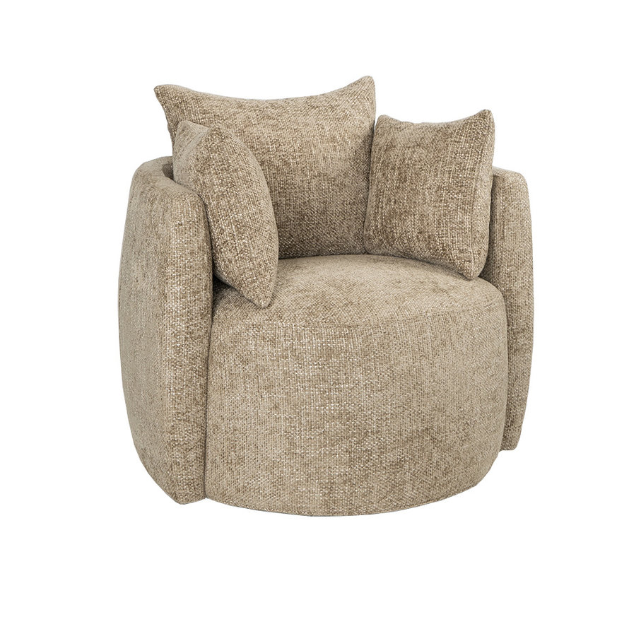 Fauteuil Ruby taupe chenille stof