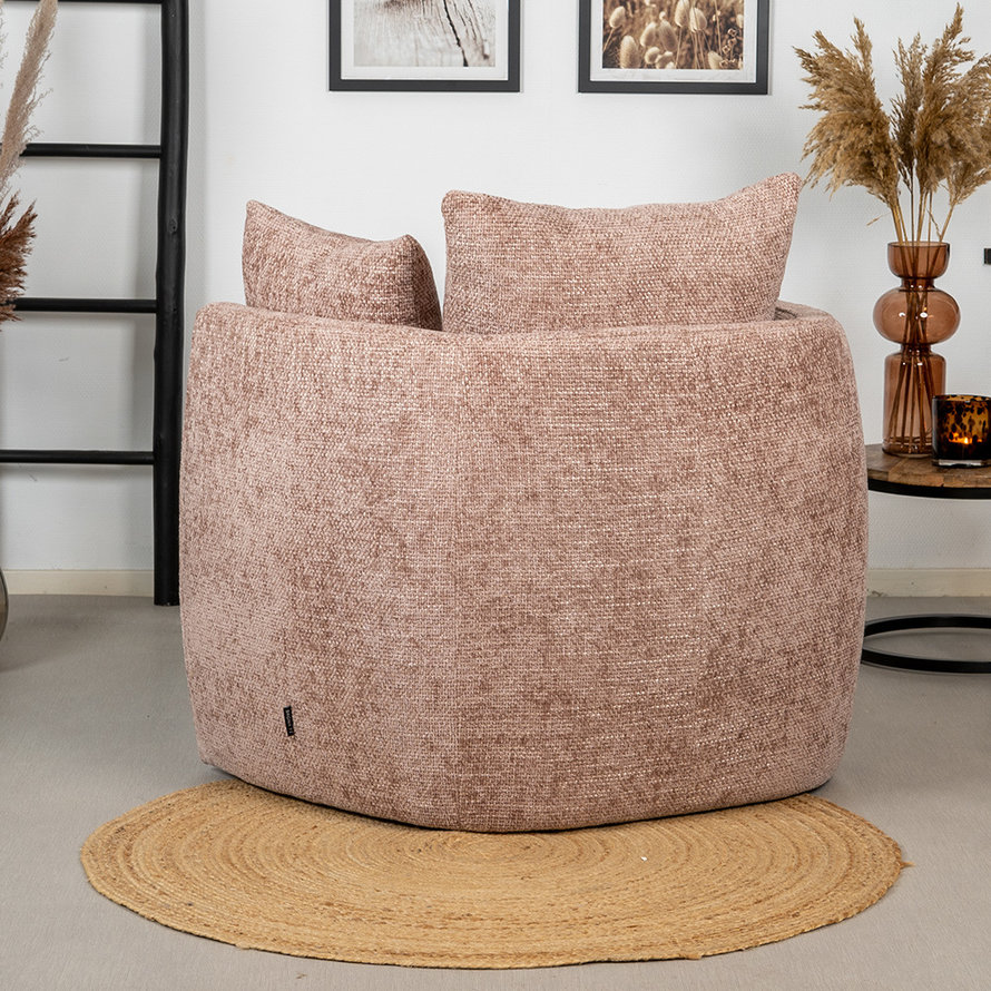 Fauteuil Ruby roze chenille stof