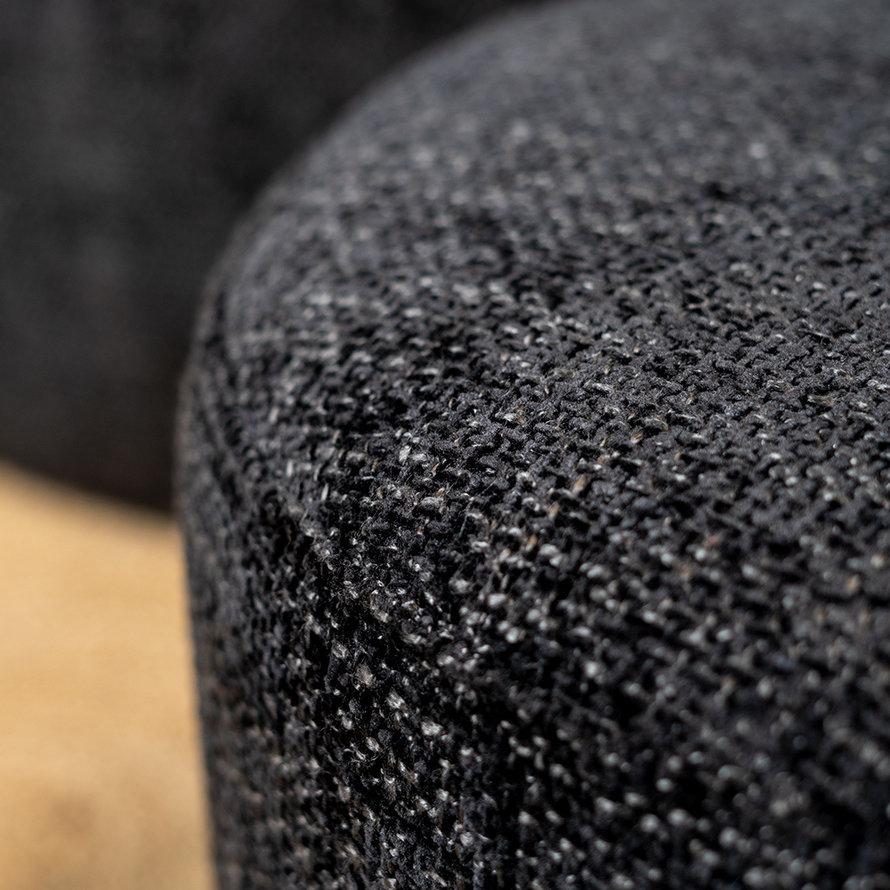 Poef/hocker Feline zwart chenille stof