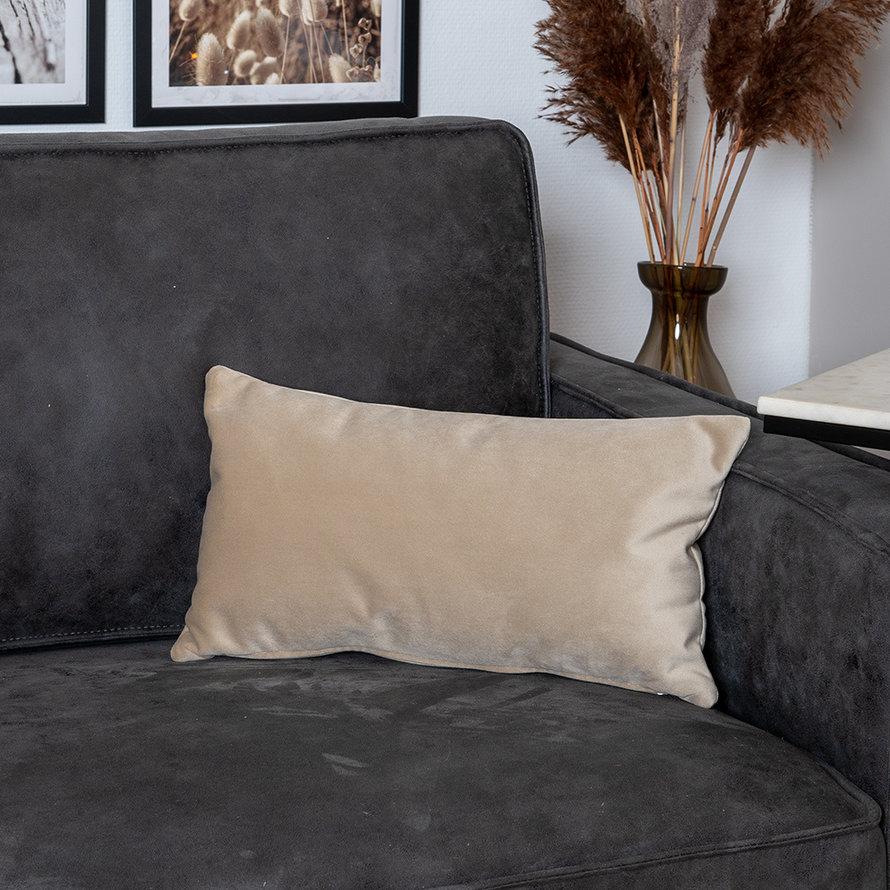Kussen Anna beige velvet 25 x 45 cm