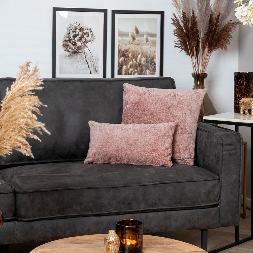 Kussen Juna roze chenille stof 45 x 45 cm