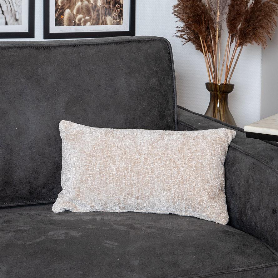 Kussen Juna wit chenille stof 25 x 45 cm