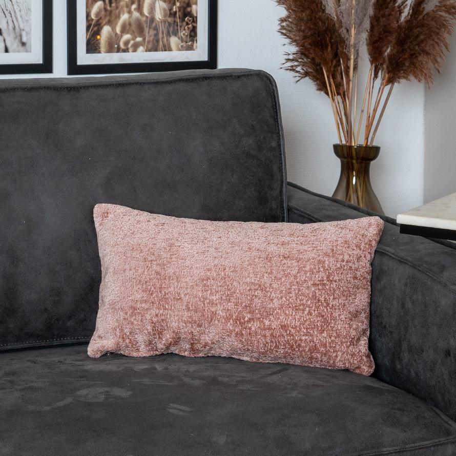 Kussen Juna roze chenille stof 25 x 45 cm