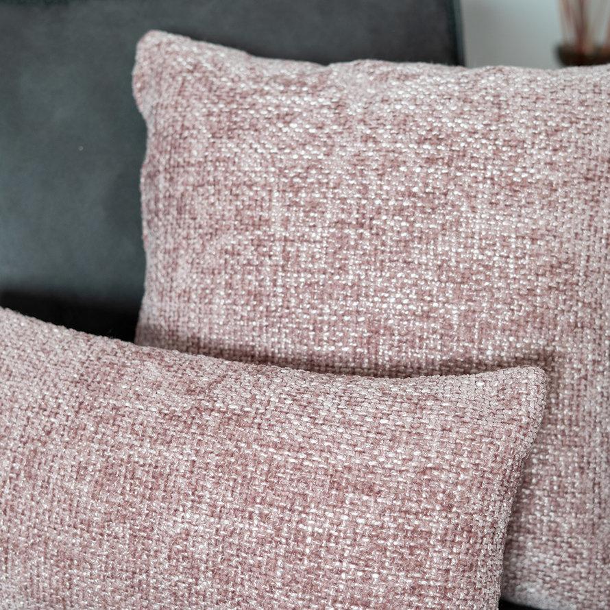 Kussen Feline roze chenille stof 45 x 45 cm