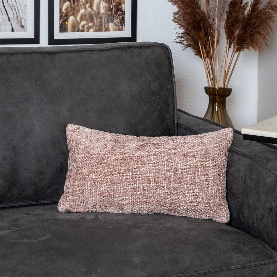 Kussen Feline roze chenille stof 25 x 45 cm
