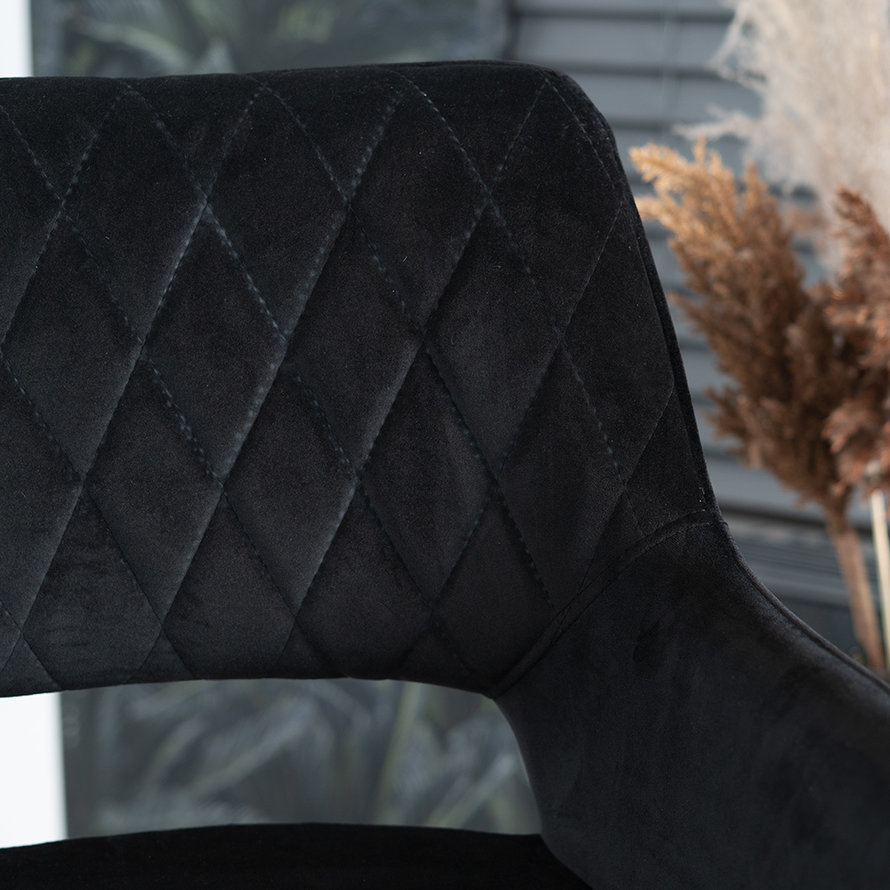 Horeca barkruk Mika zwart velvet 78 cm