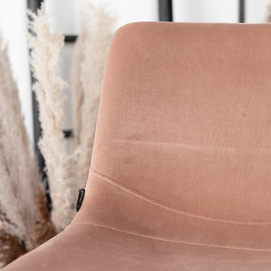 Horeca barkruk Frenkie roze velvet 59 - 76 cm