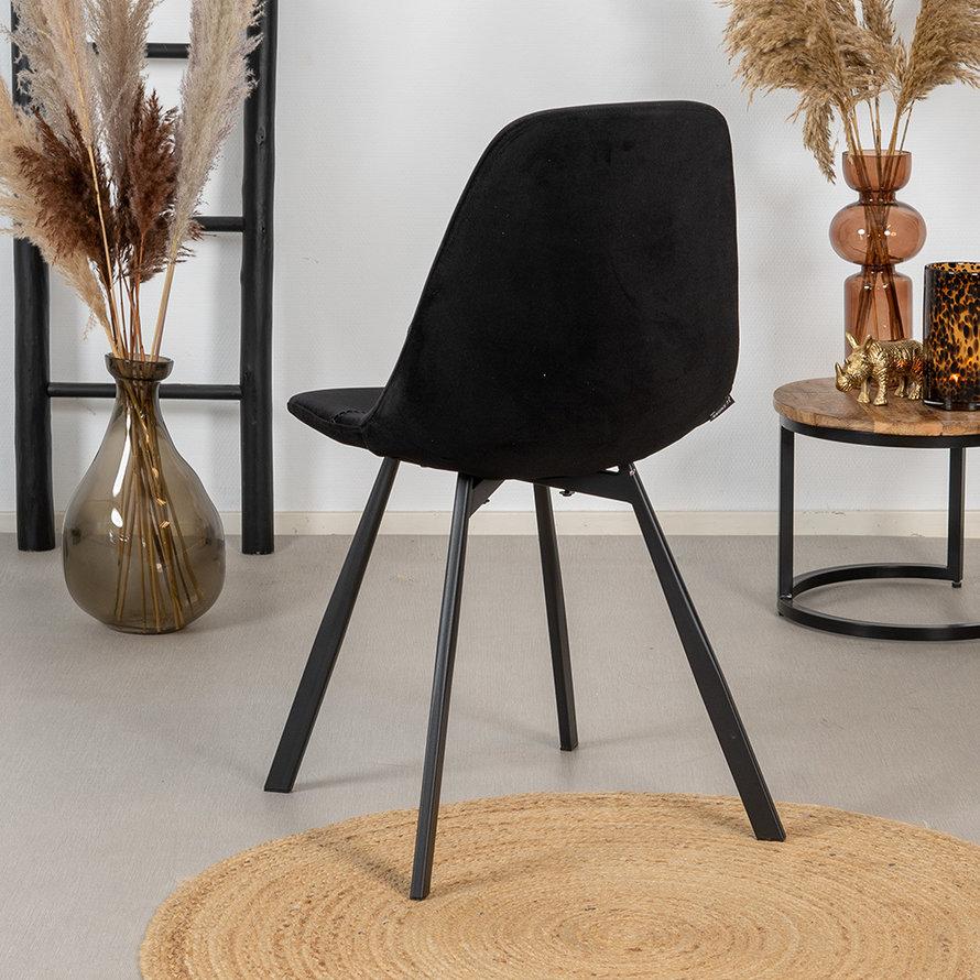 Horeca stoel taupe zwart velvet