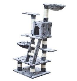 vidaXL Kattenkrabpaal Jerry 122 cm (grijs) met pootafdrukken