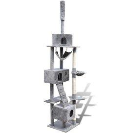 vidaXL Kattenkrabpaal Tommie 220/240 cm 3 huisjes (grijs)