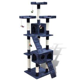 vidaXL Kattenkrabpaal met 2 huisjes Max 170 cm donkerblauw