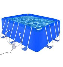vidaXL Opbouwzwembad met stalen frame en pomp 400 x 207 x 122 cm