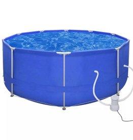 vidaXL Opbouwzwembad met stalen frame en pomp  367 cm rond