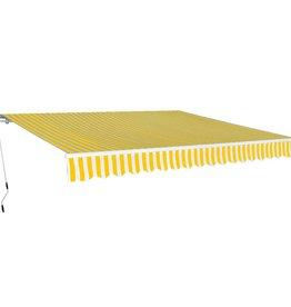 vidaXL Luifel handmatig uitschuifbaar 600 cm geel/wit