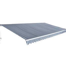 vidaXL Luifel handmatig uitschuifbaar 600 cm blauw/wit