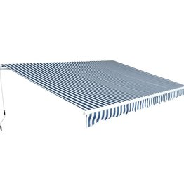 vidaXL Luifel handmatig uitschuifbaar 450 cm blauw/wit