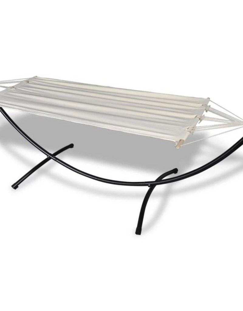 Hangmat Met Stevig Frame.Vidaxl Katoenen Hangmat Met Stalen Standaard Cremekleurig Tuinshop