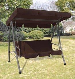 vidaXL Schommelstoel voor buiten met luifel koffiekleur